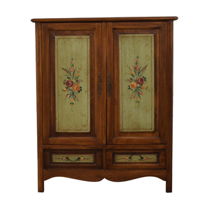 buy Domain Walnut French Antique Floral Painted Media Cabinet with Drawers Domain