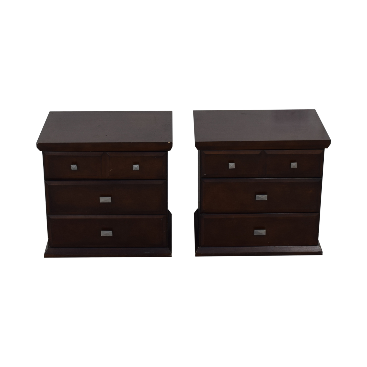 Three Drawer Wood Nightstands End Tables