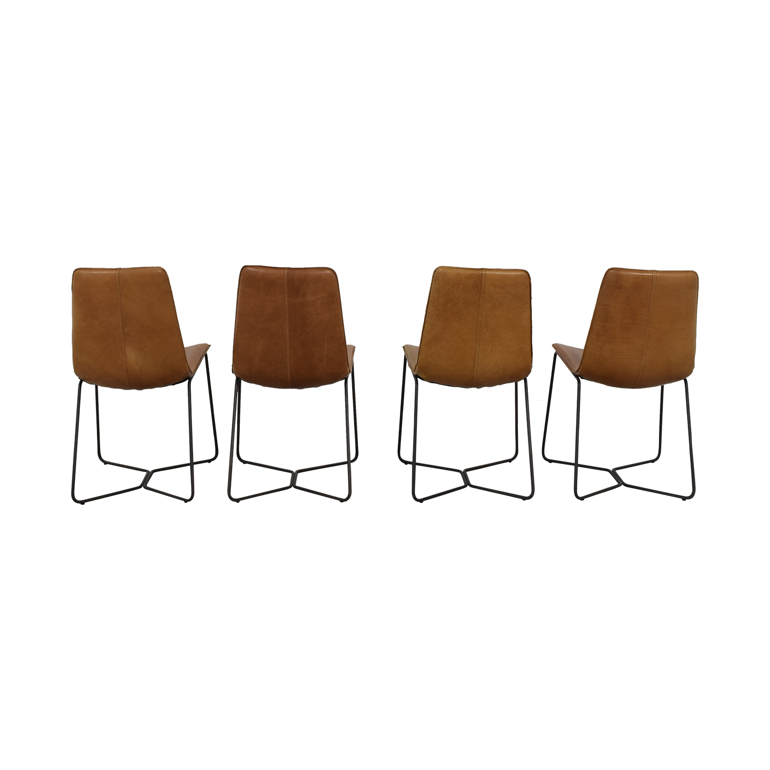 West Elm Leather Slope Dining Chair / Chairs
