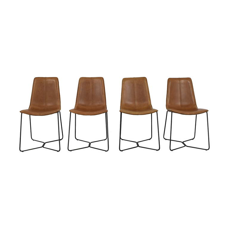 West Elm West Elm Leather Slope Dining Chair discount