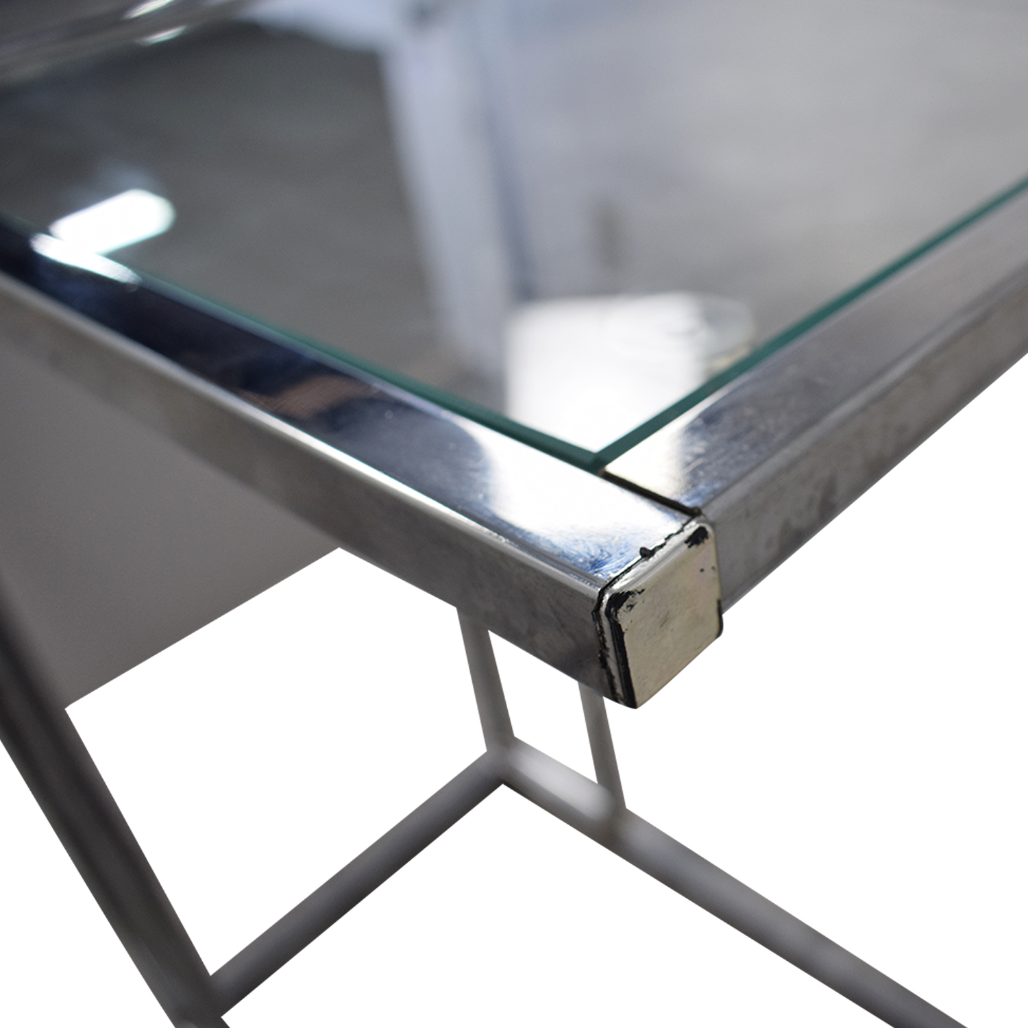White Glass and Chrome Side Table Storage