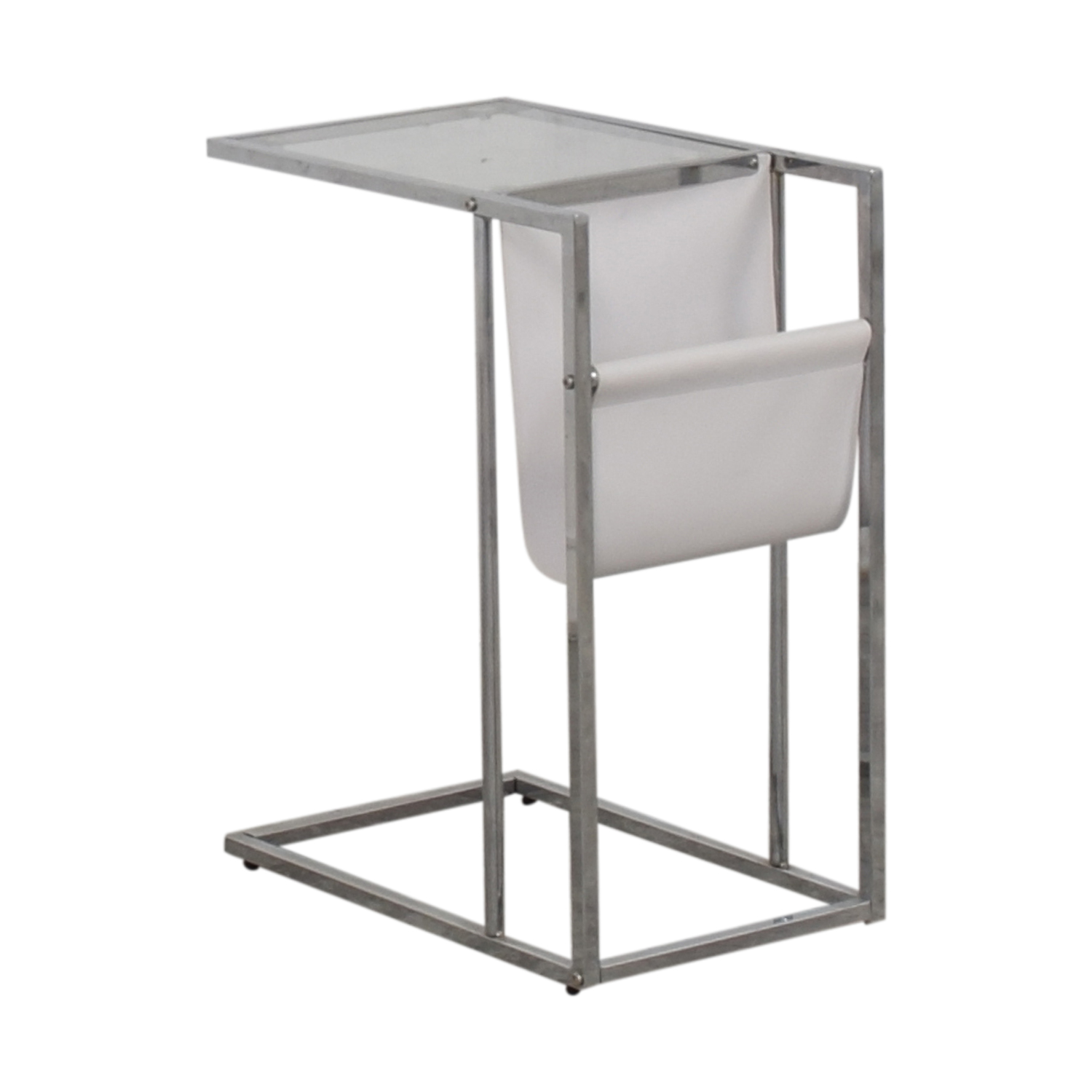 White Glass and Chrome Side Table for sale