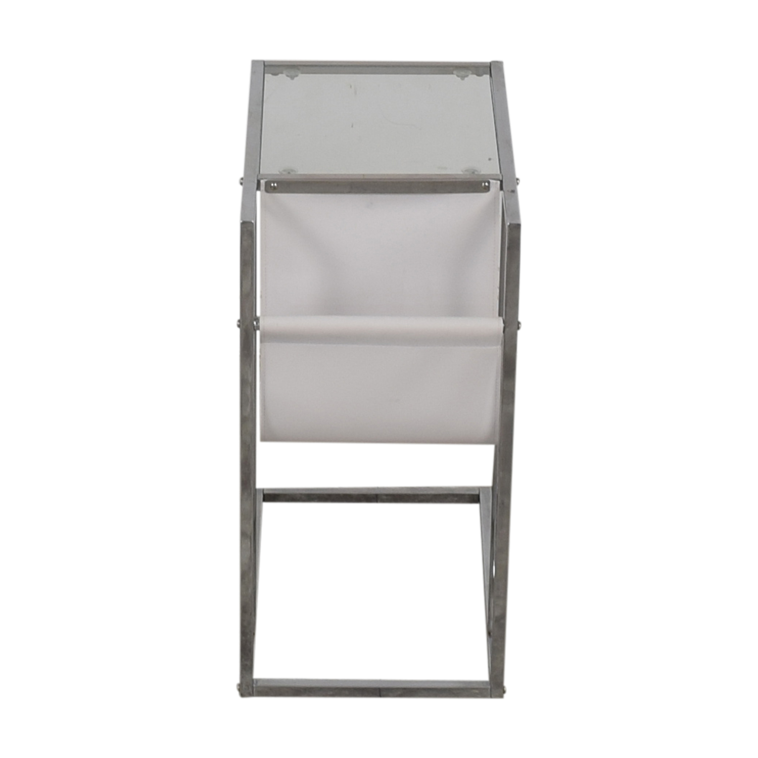 White Glass and Chrome Side Table dimensions