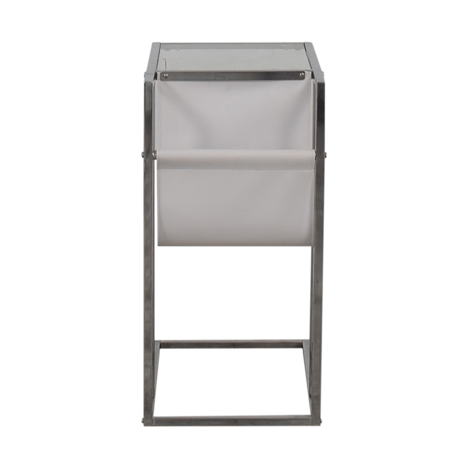White Glass and Chrome Side Table