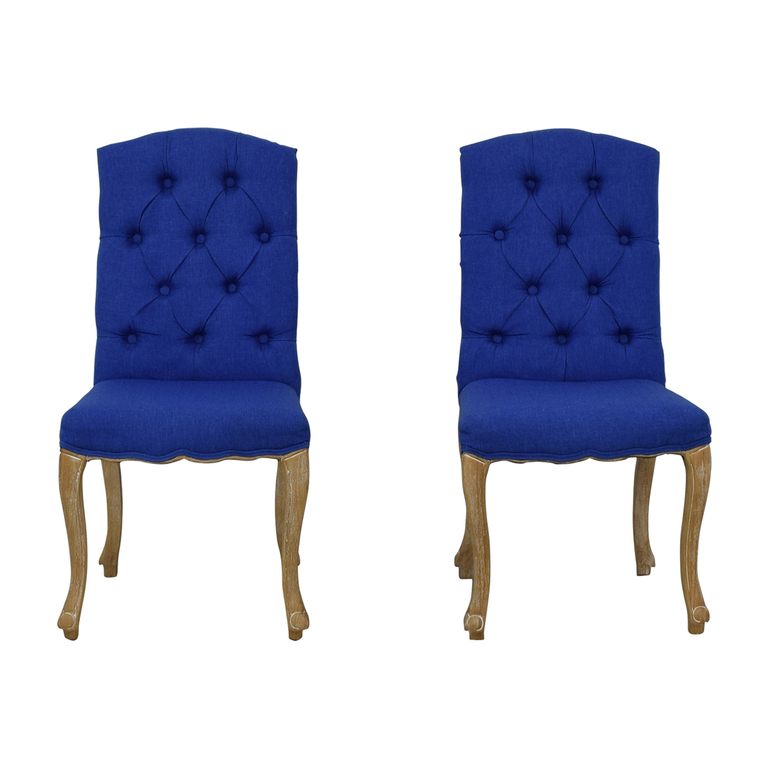 buy  Royal Blue Tufted Back Dining Chairs online