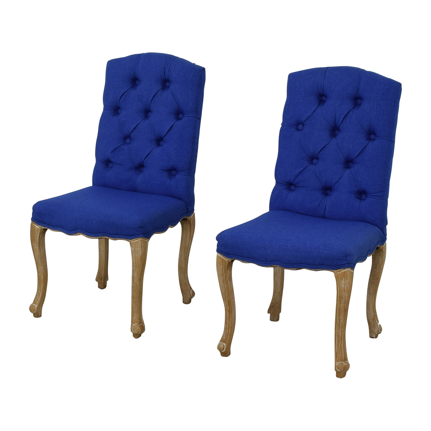 65 Off Royal Blue Tufted Back Dining Chairs Chairs