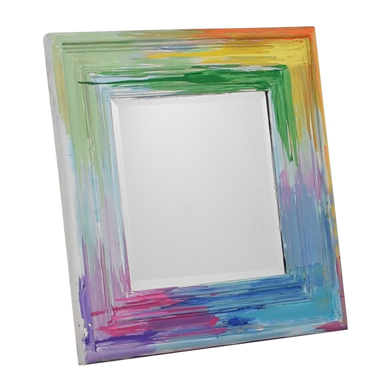 buy Rainbow Painted Square Wall Mirror  Decor