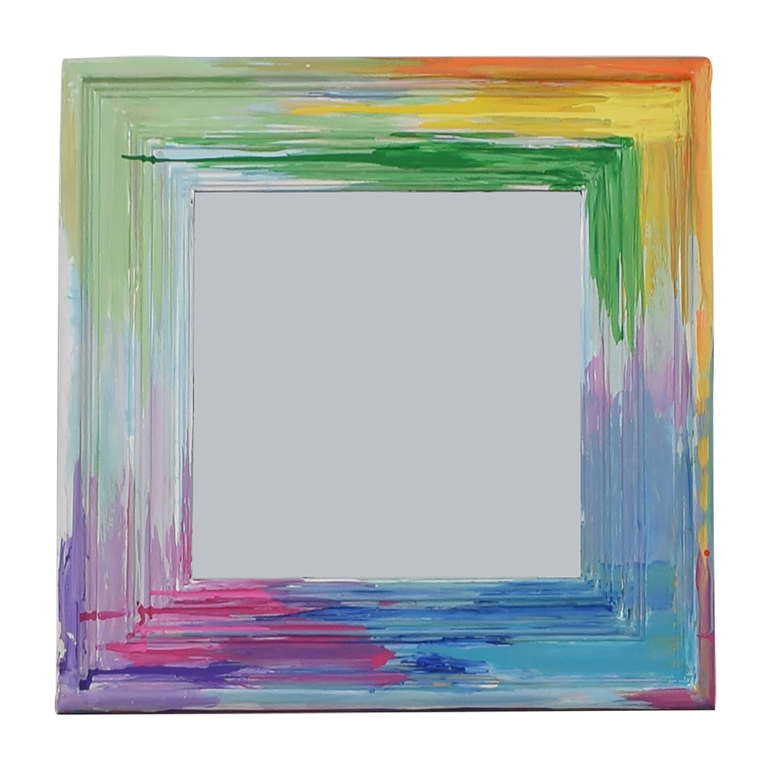 Rainbow Painted Square Wall Mirror for sale