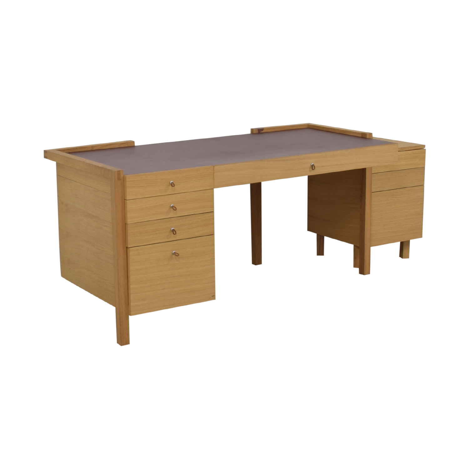 44% OFF - Eight-Drawer Oak Desk and Side Table / Tables