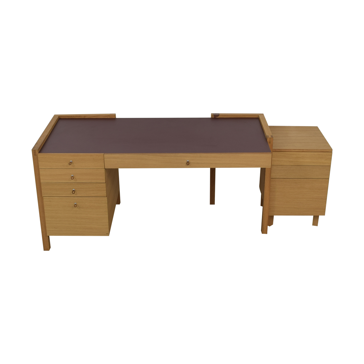 Eight-Drawer Oak Desk and Side Table used