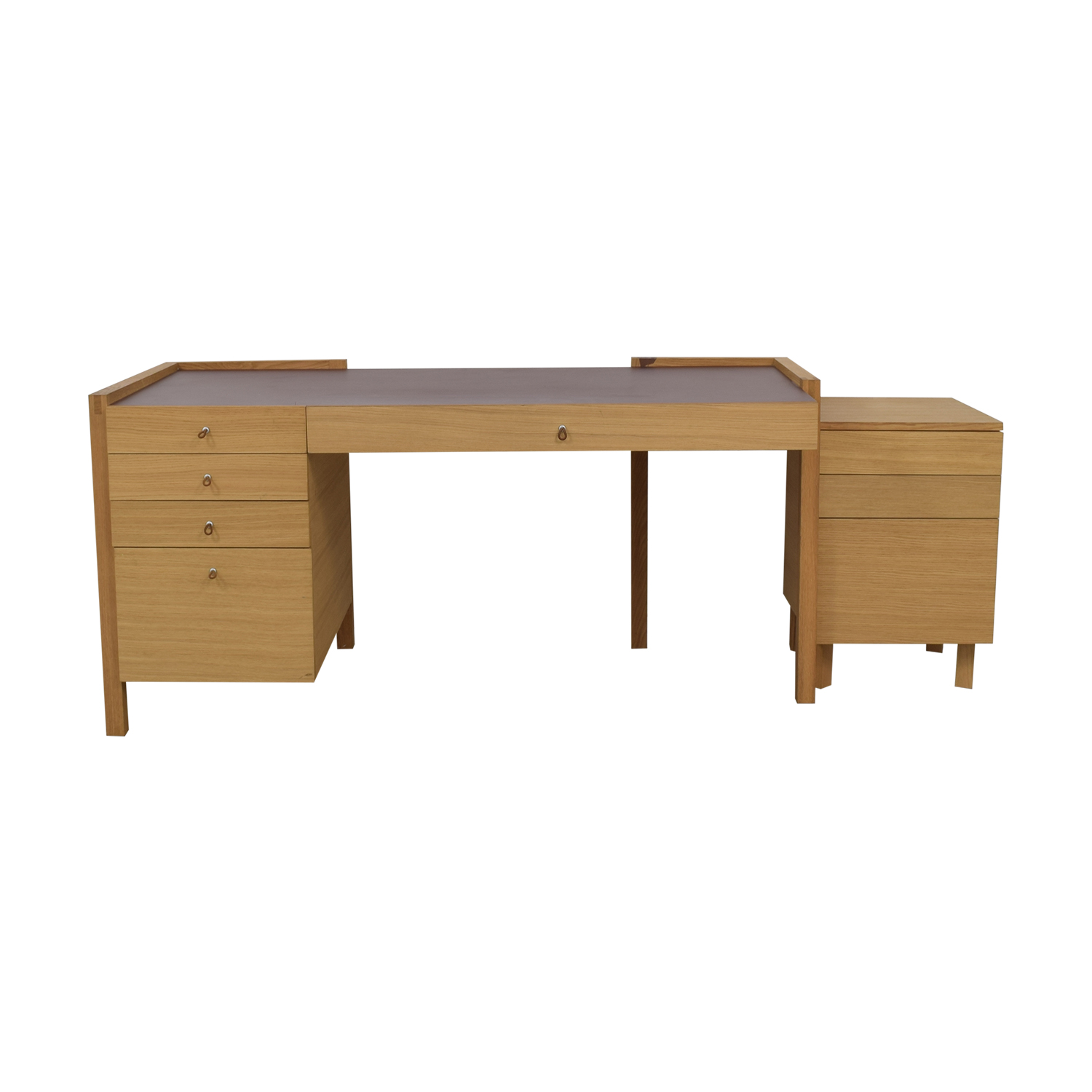 Eight-Drawer Oak Desk and Side Table dimensions
