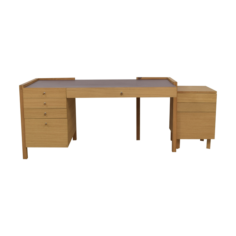 Eight-Drawer Oak Desk and Side Table sale