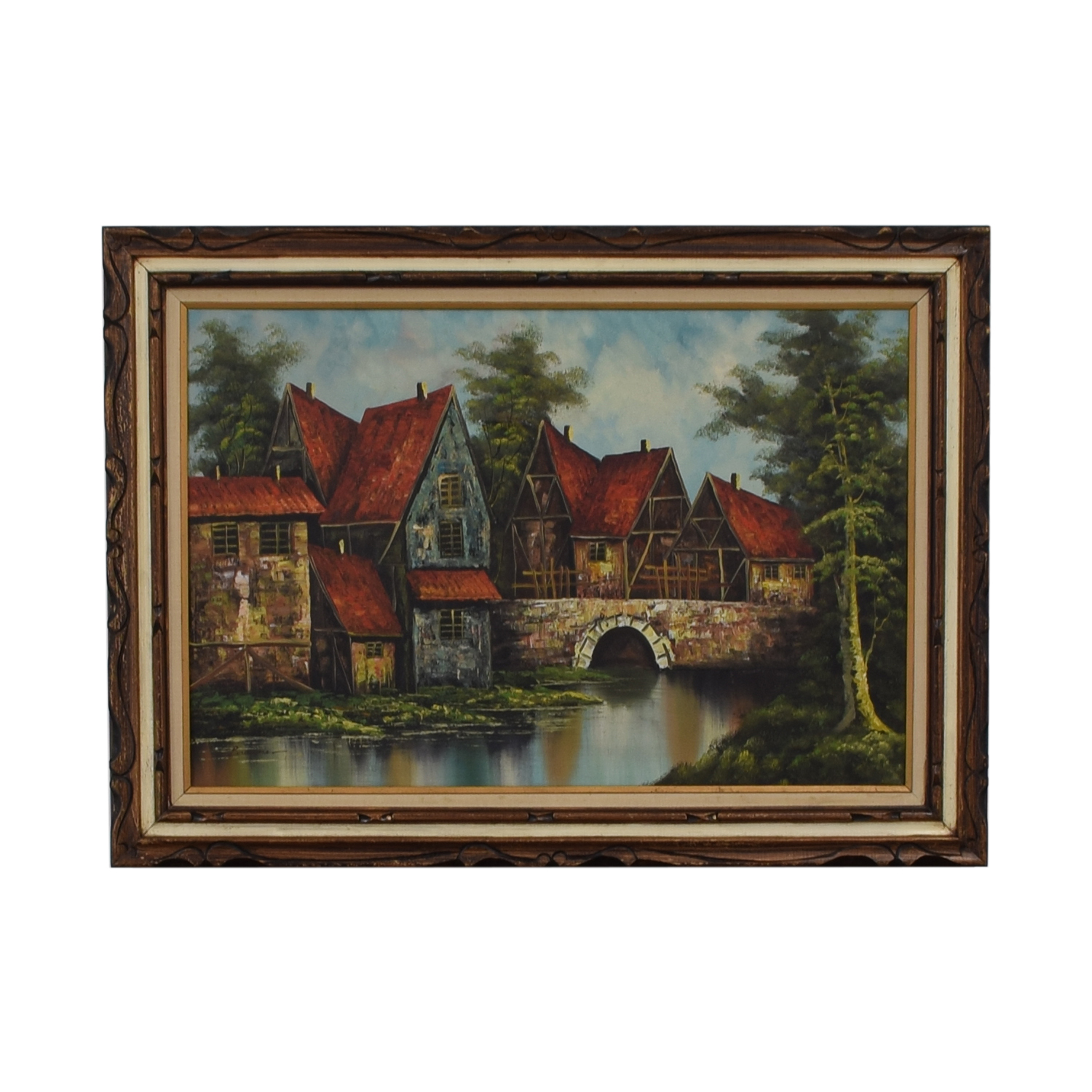 Scenic Village Water Painting on sale