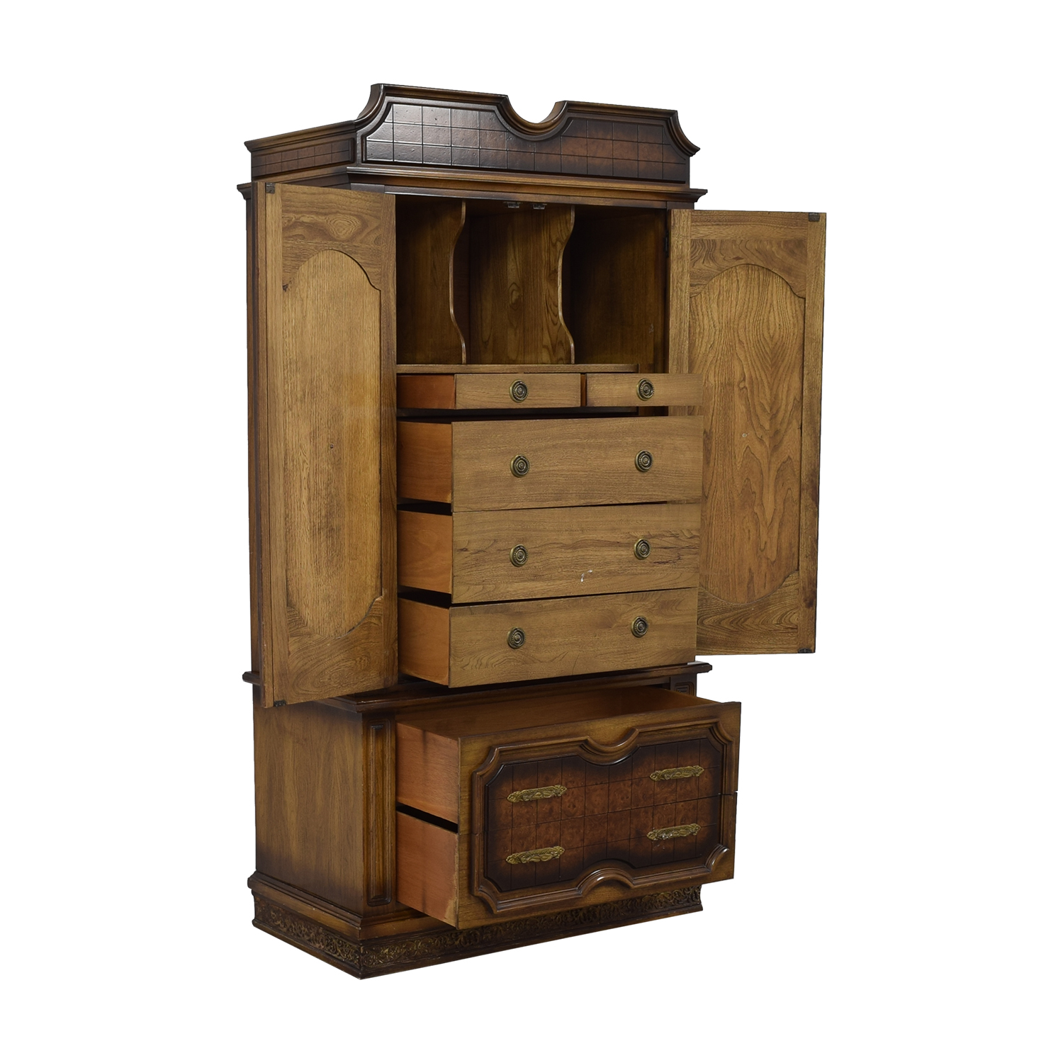 Seven-Drawer Wood Armoire used