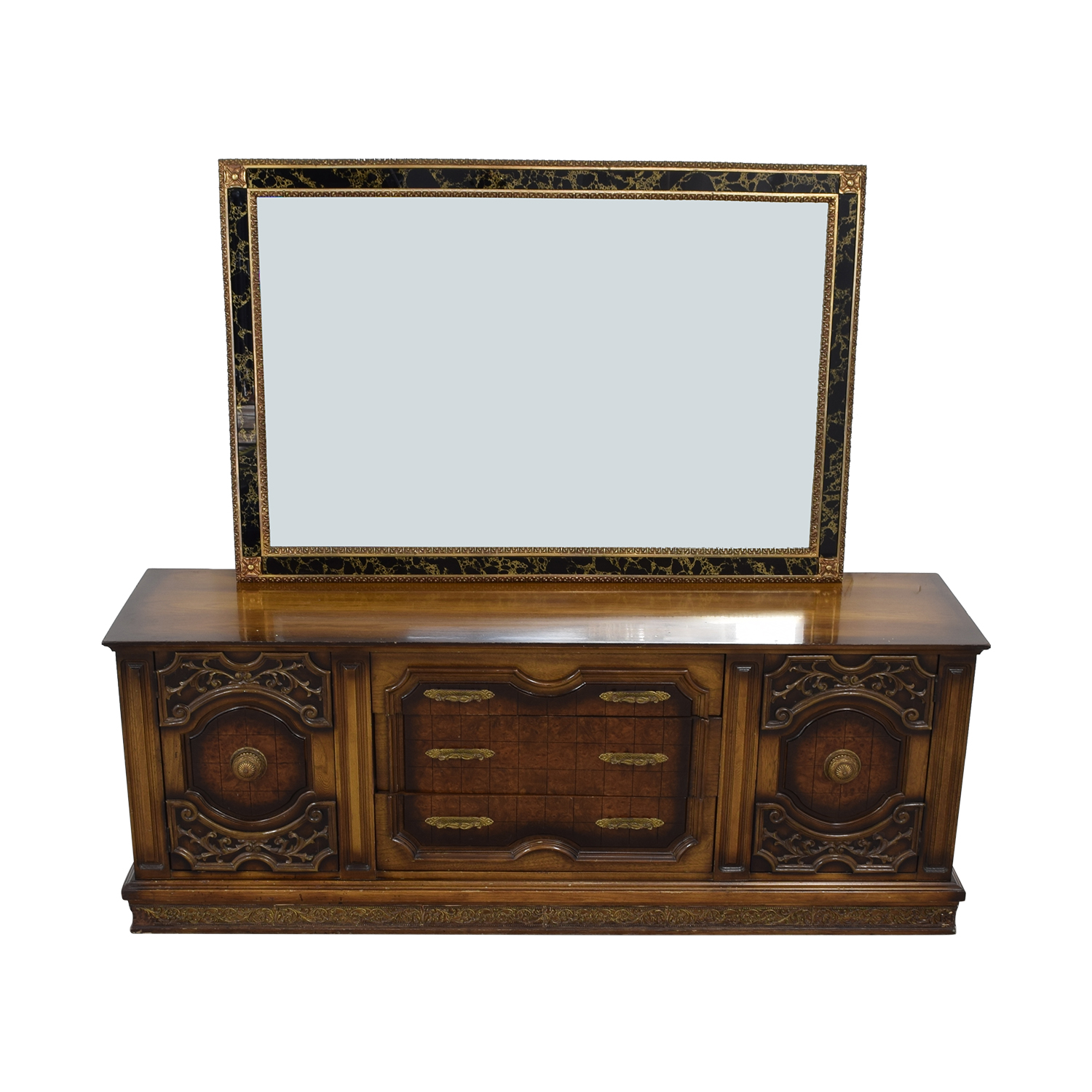 Nine-Drawer Wood Dresser with Mirror nj