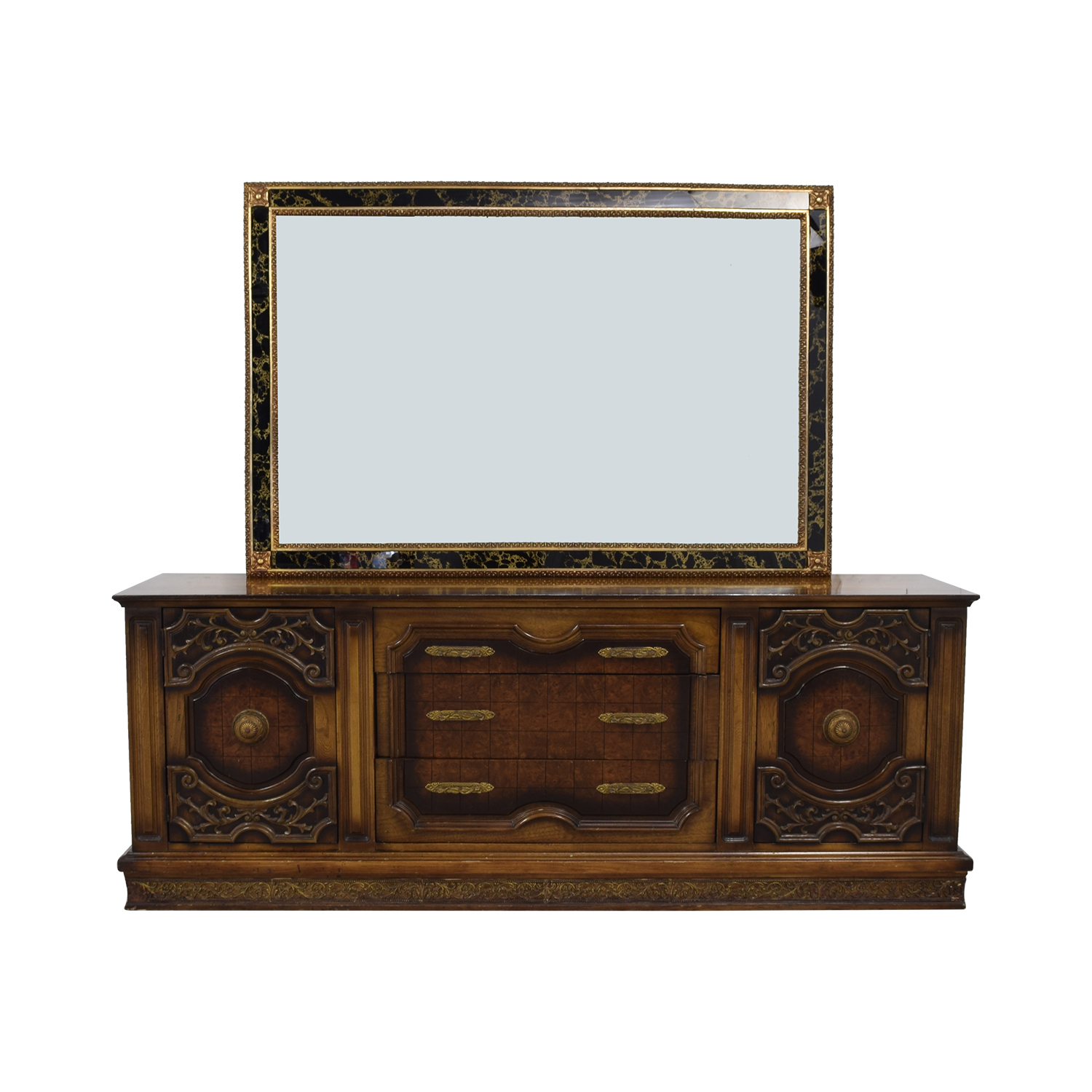 Nine-Drawer Wood Dresser with Mirror dimensions
