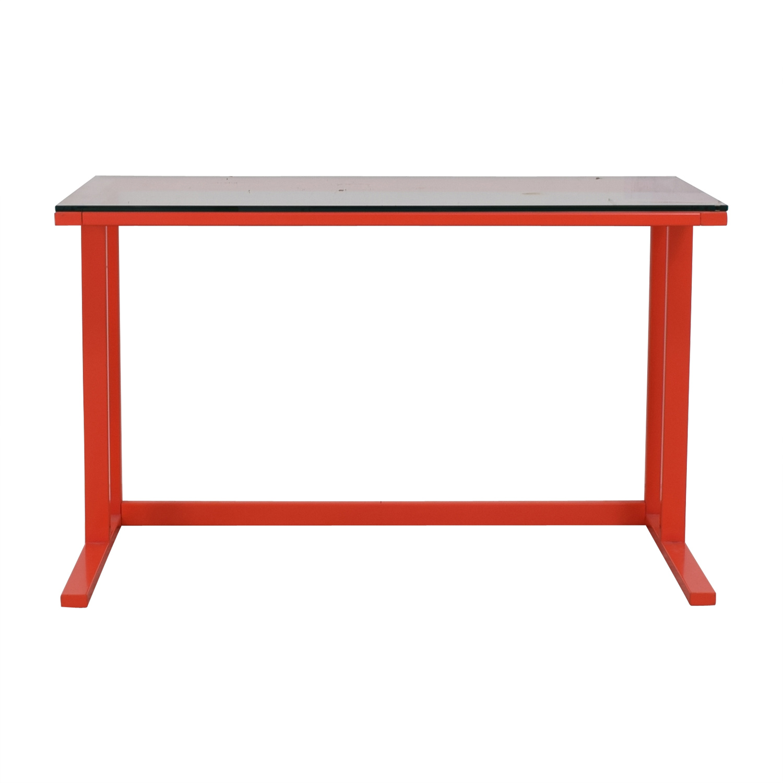 Crate & Barrel Pilsen Paprika Glass and Metal Desk / Sofas