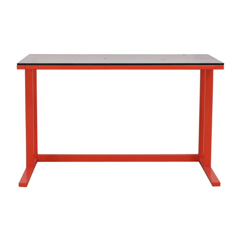 shop Crate & Barrel Pilsen Paprika Glass and Metal Desk Crate & Barrel Tables