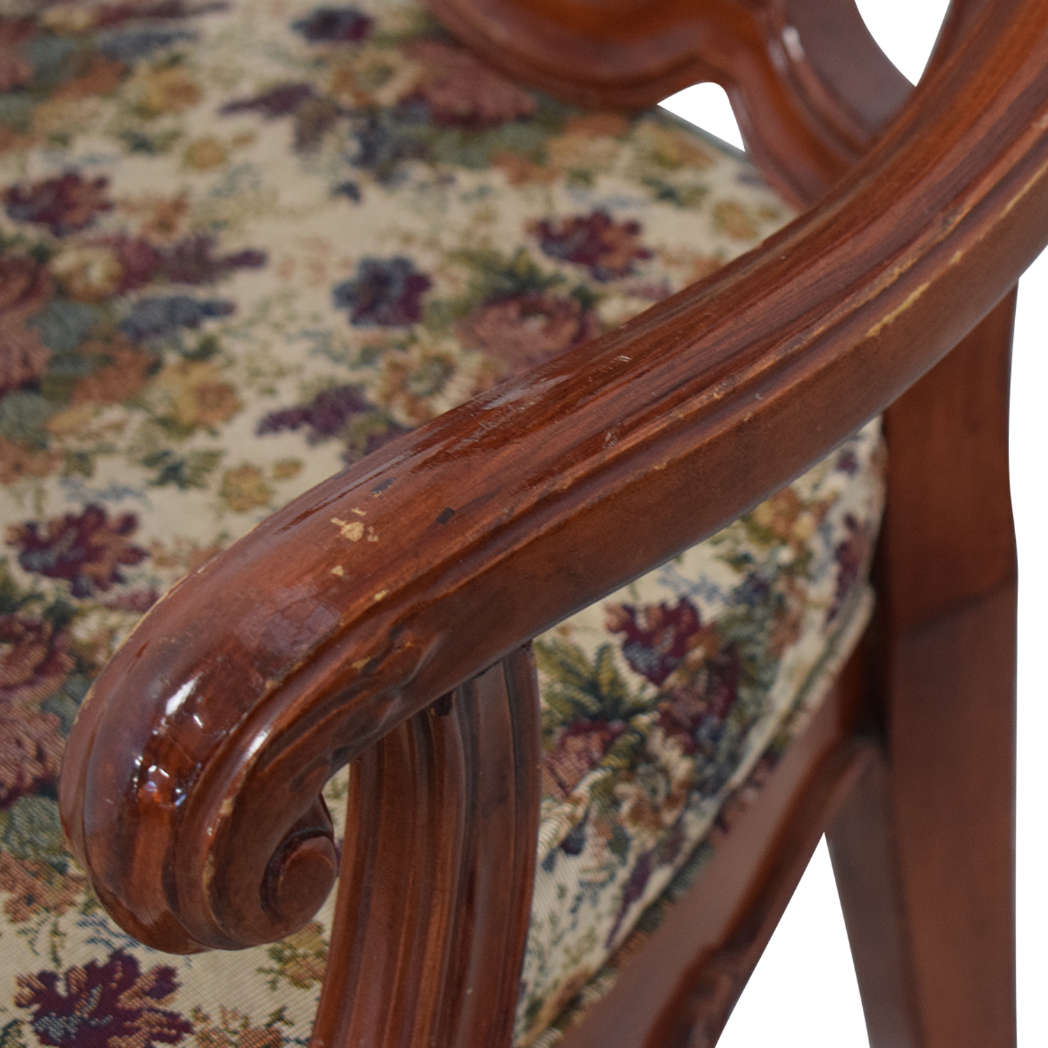 Extendable Table Set with Fabric Chairs Brown / Floral