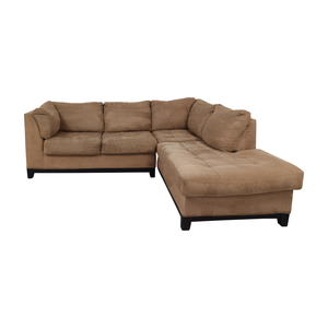 Raymour & Flanigan Raymour & Flanigan Tan Chaise Sectional Sofas