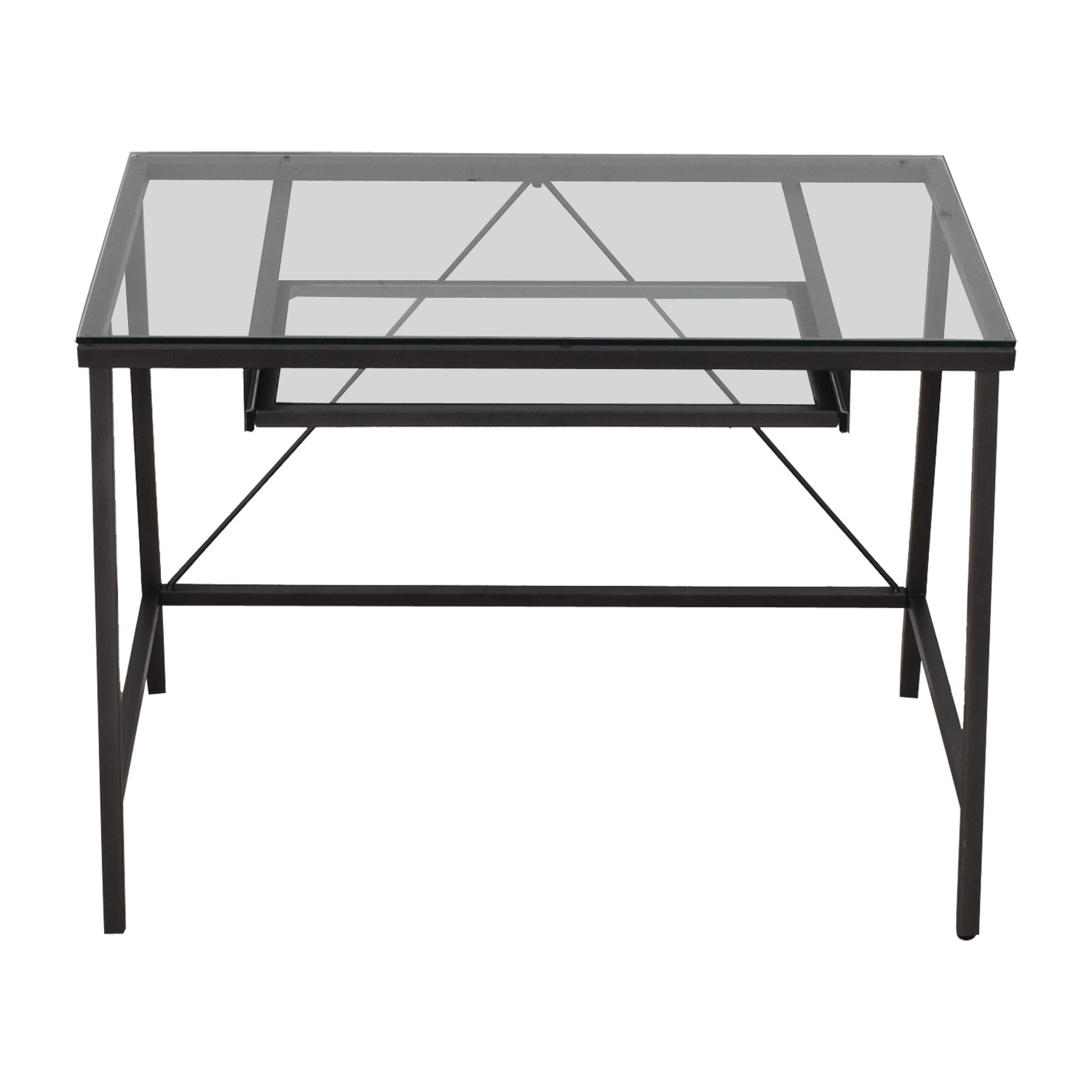 CB2 CB2 Dwight Glass and Grey Desk with Keyboard Tray nj
