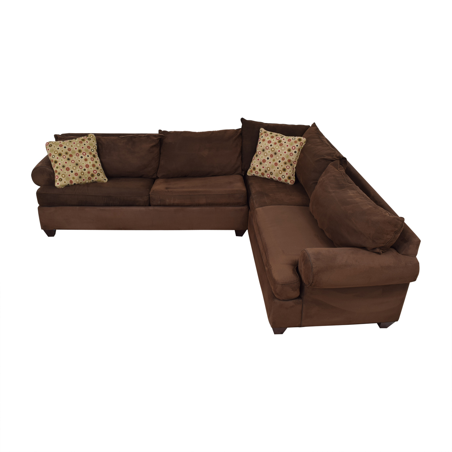 shop Raymour & Flanigan Brown L-Shaped Sectional With Pull-Out Convertible Bed Raymour & Flanigan Sectionals