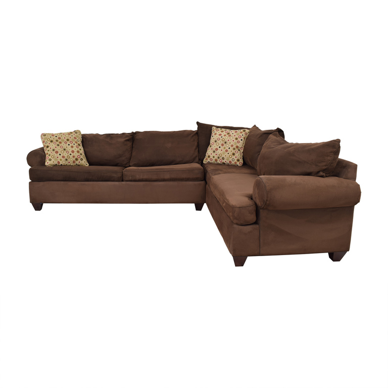 Raymour & Flanigan Raymour & Flanigan Brown L-Shaped Sectional With Pull-Out Convertible Bed for sale