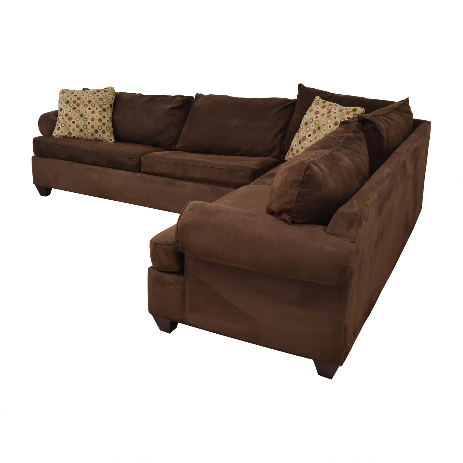 buy Raymour & Flanigan Raymour & Flanigan Brown L-Shaped Sectional With Pull-Out Convertible Bed online