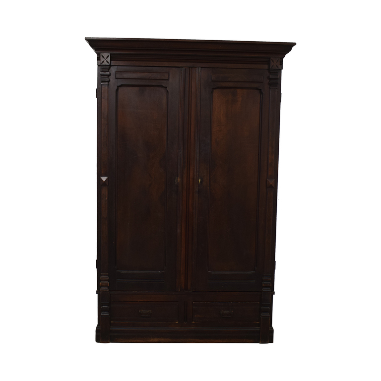 Antique Wood Two-Drawer Clothing Armoire with Key Storage