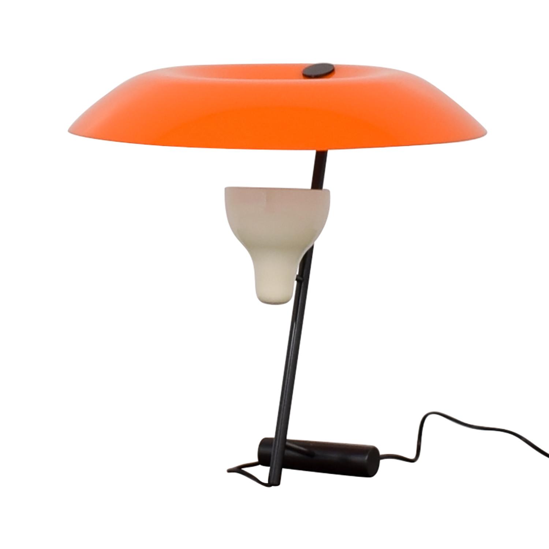 FLOS Gino Sarfatti Orange and Burnished Brass Table Lamp / Lamps