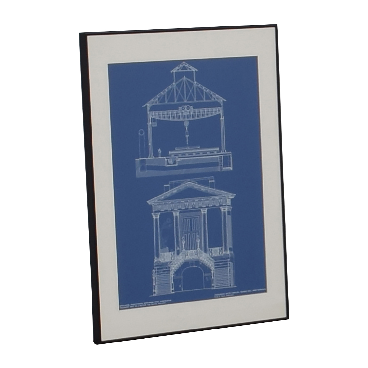 buy  Market Hall Charleston South Carolina Blueprint Framed Print online