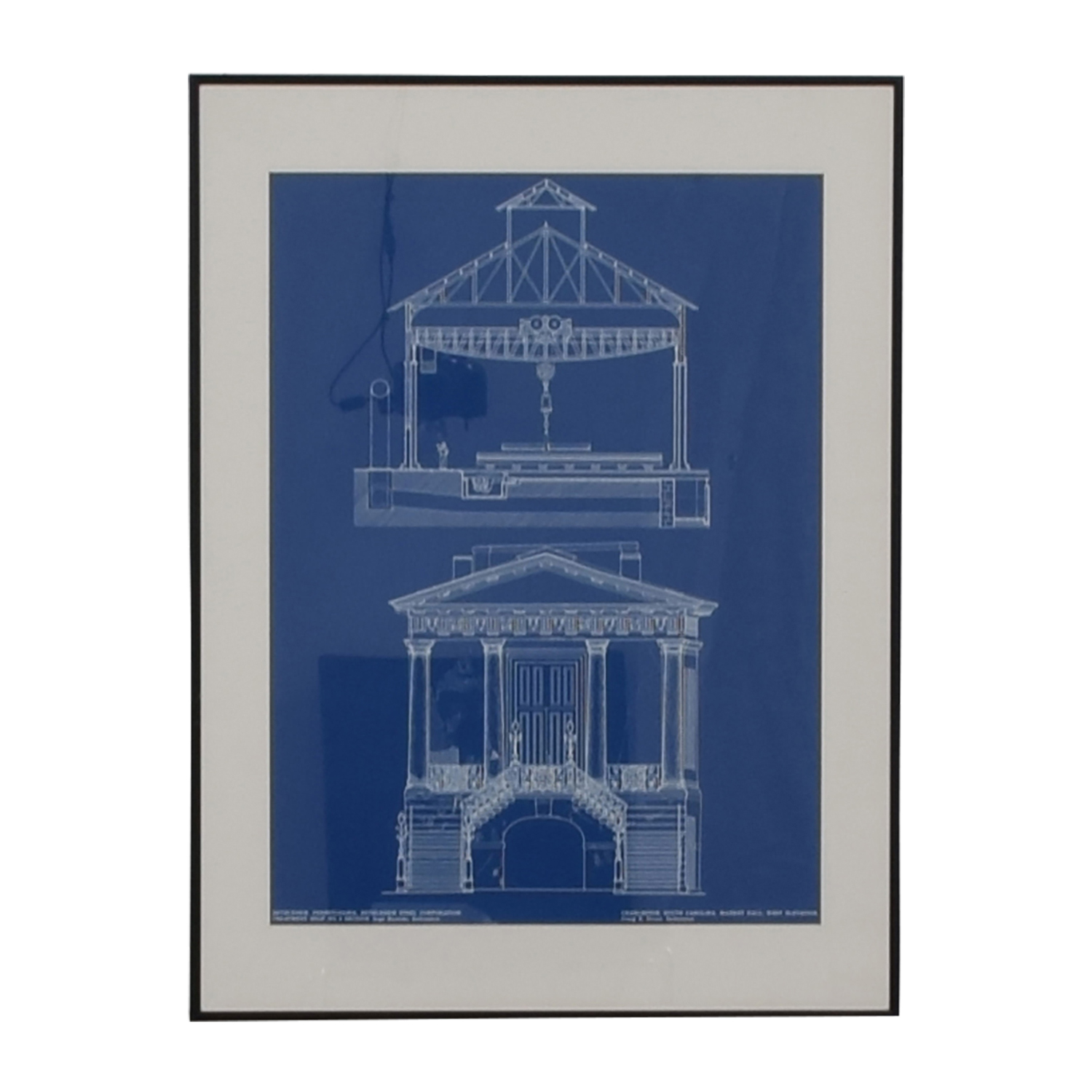 Market Hall Charleston South Carolina Blueprint Framed Print for sale