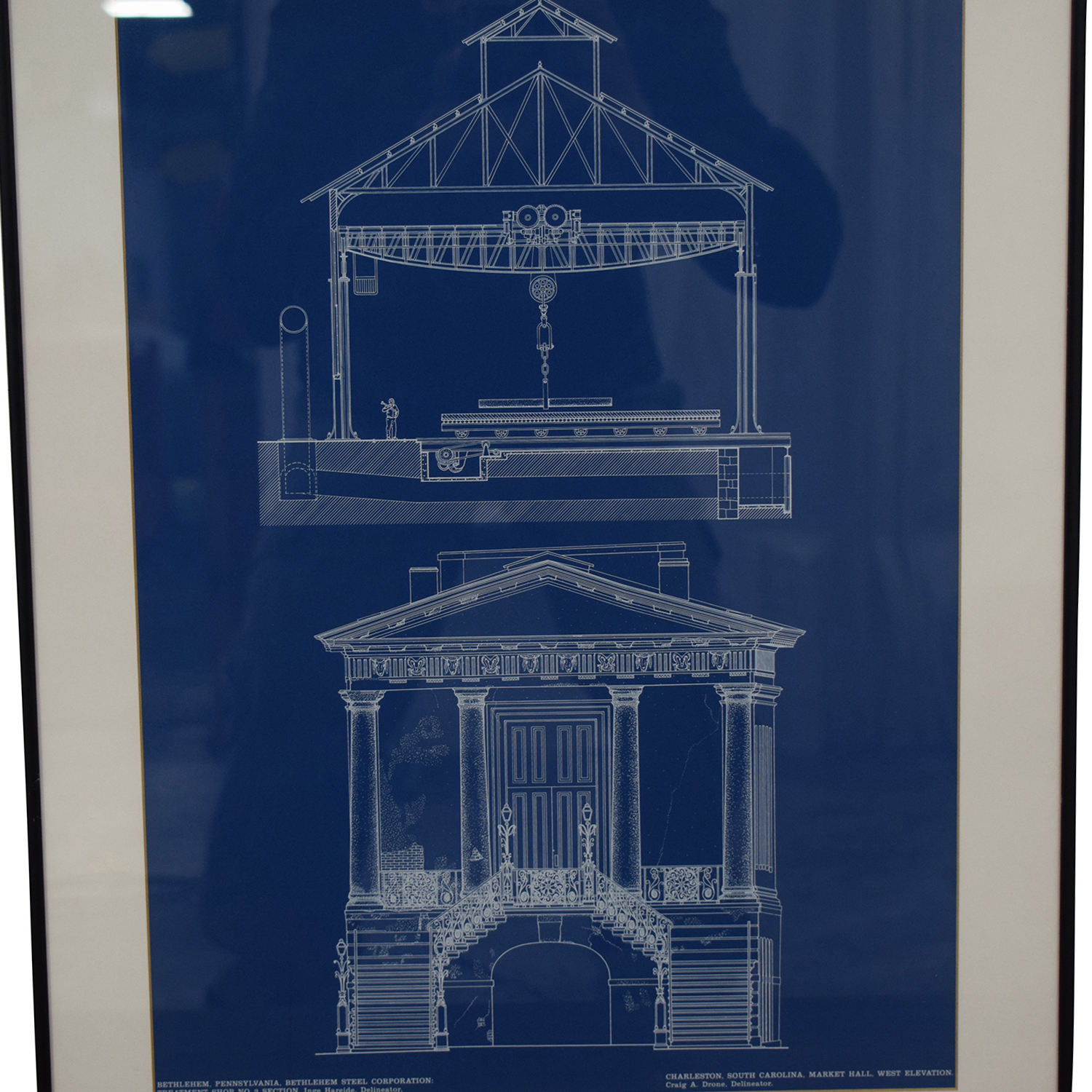 Market Hall Charleston South Carolina Blueprint Framed Print