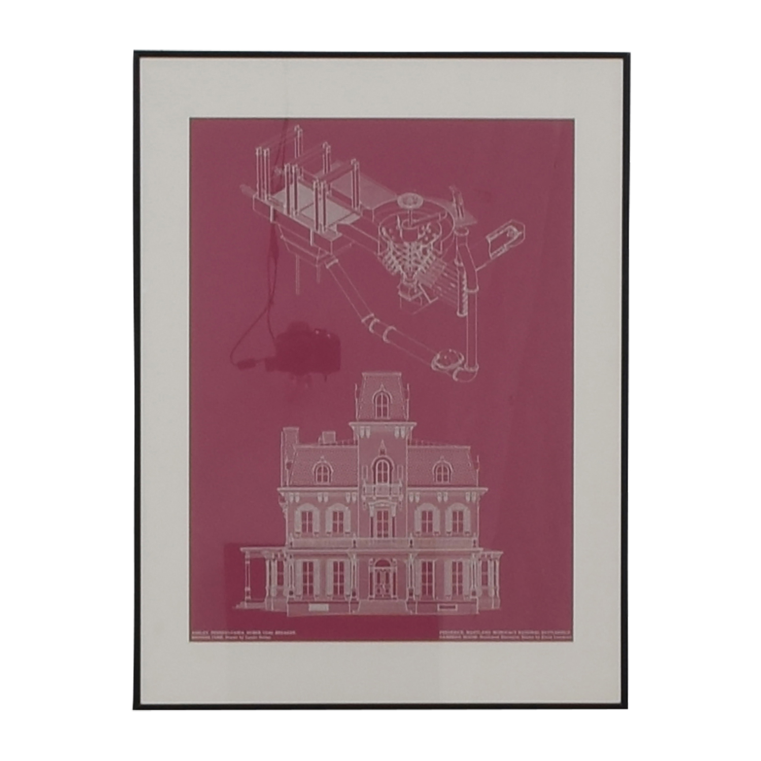 Building and Machine Pink Blueprint Framed Wall Art second hand