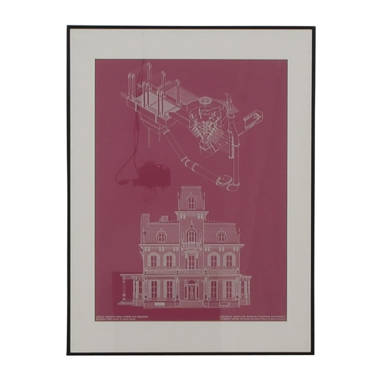 Building and Machine Pink Blueprint Framed Wall Art price