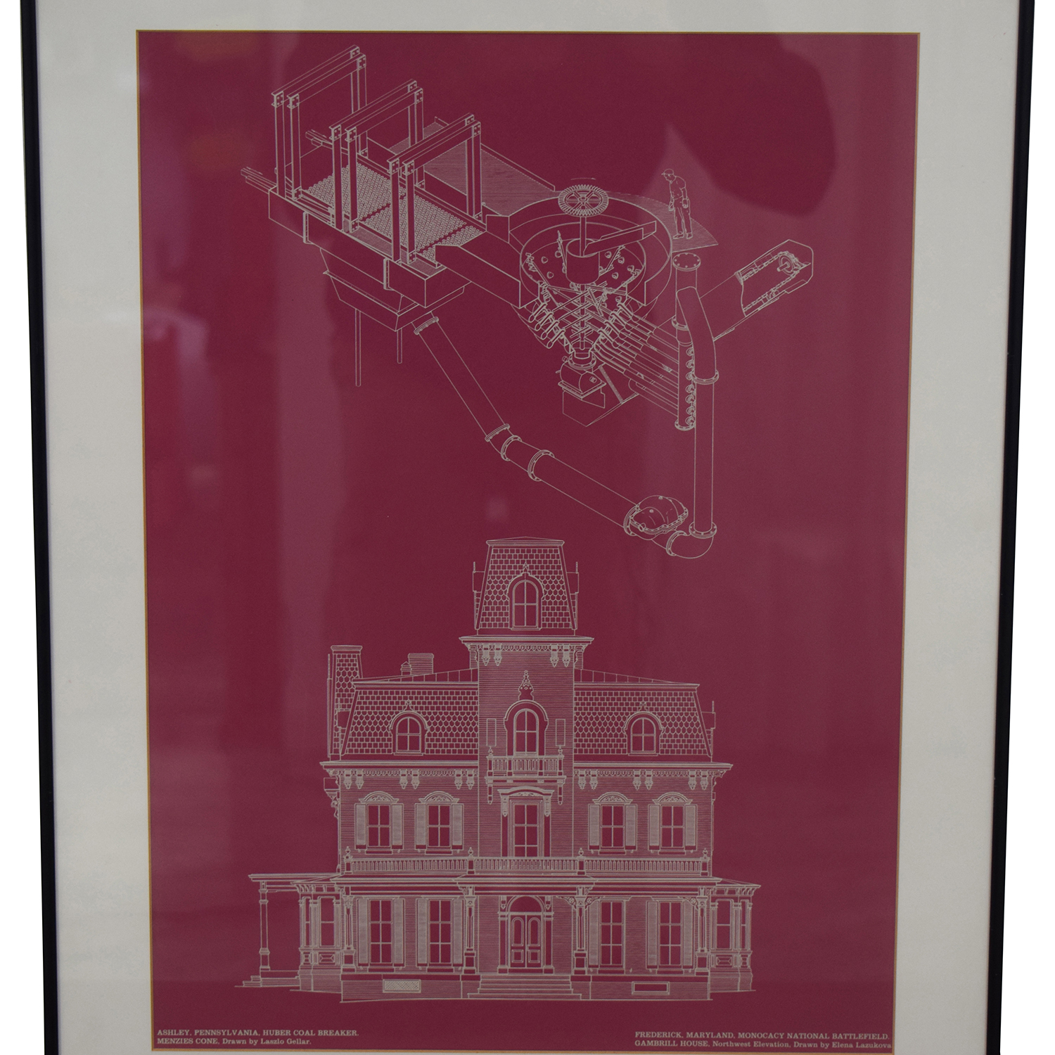 Building and Machine Pink Blueprint Framed Wall Art nyc