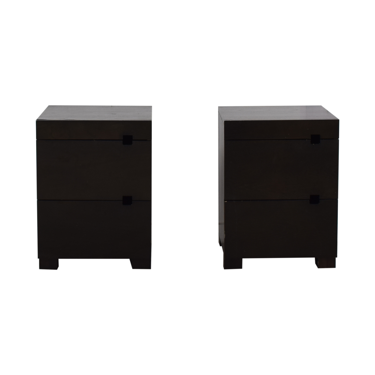 West Elm West Elm Square Cutout Chocolate-Stained Veneer Nightstands price