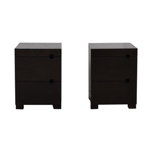 West Elm West Elm Square Cutout Chocolate Stained Veneer Nightstands coupon