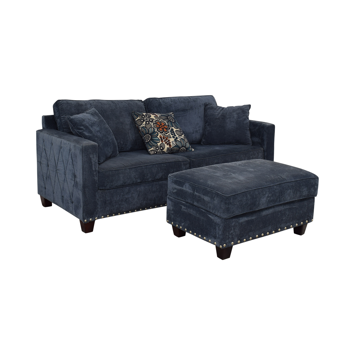 Bob's Discount Furniture Bob's Discount Furniture Melanie Blue Nailhead Sofa and Ottoman price
