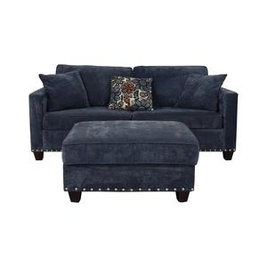 Bob's Discount Furniture Bob's Discount Furniture Melanie Blue Nailhead Sofa and Ottoman