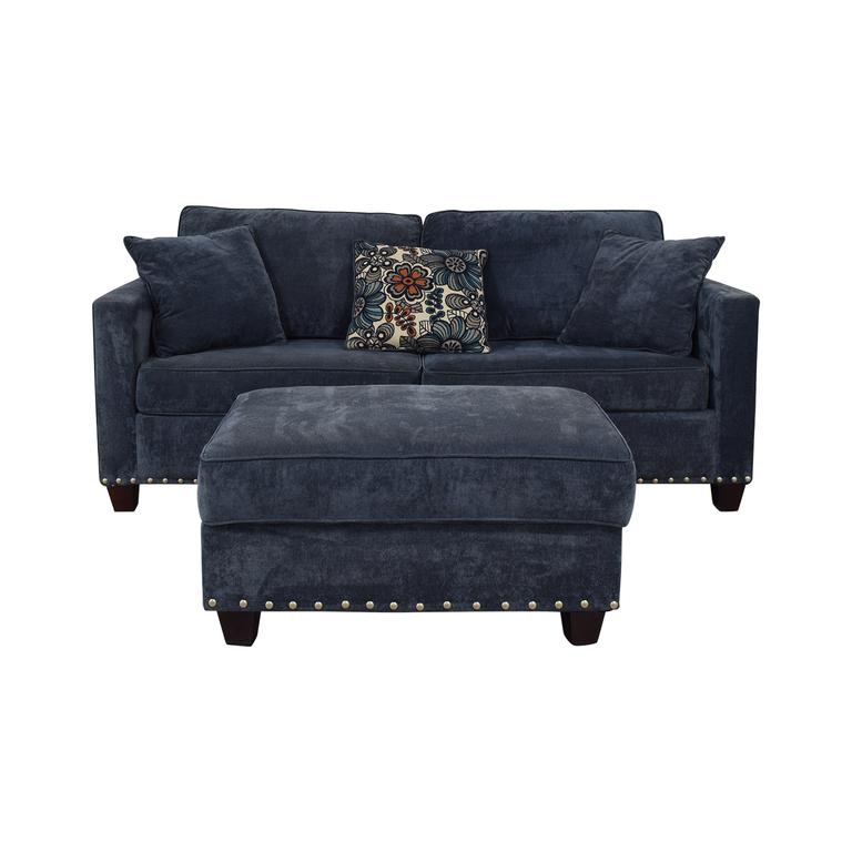 Bob's Discount Furniture Bob's Discount Furniture Melanie Blue Nailhead Sofa and Ottoman discount