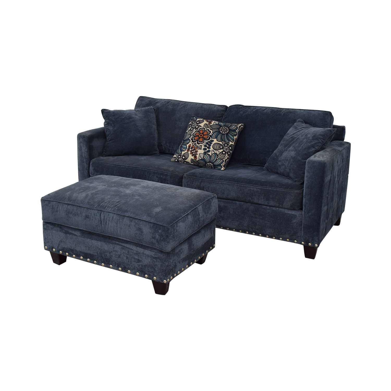 Bob's Discount Furniture Bob's Discount Furniture Melanie Blue Nailhead Sofa and Ottoman discount