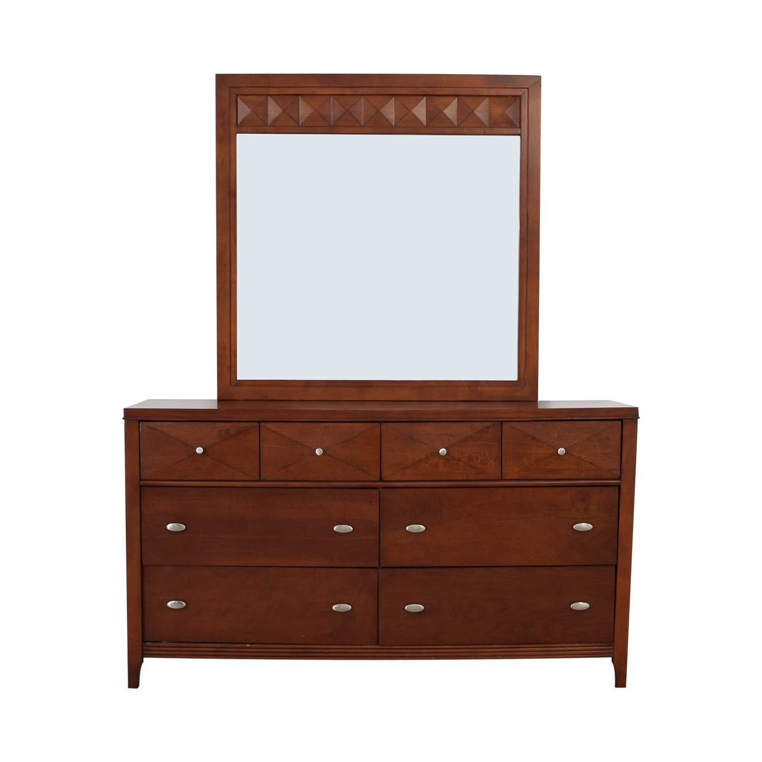 Wood Six-Drawer Dresser with Mirror sale