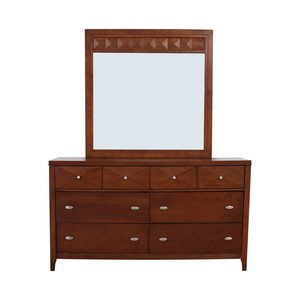 Wood Six-Drawer Dresser with Mirror
