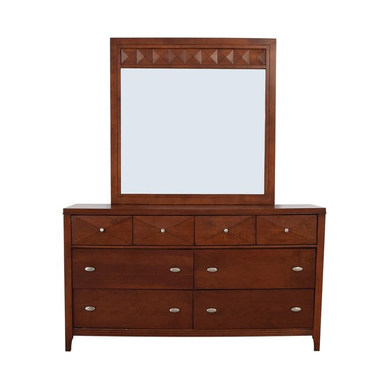 shop Wood Six-Drawer Dresser with Mirror  Storage