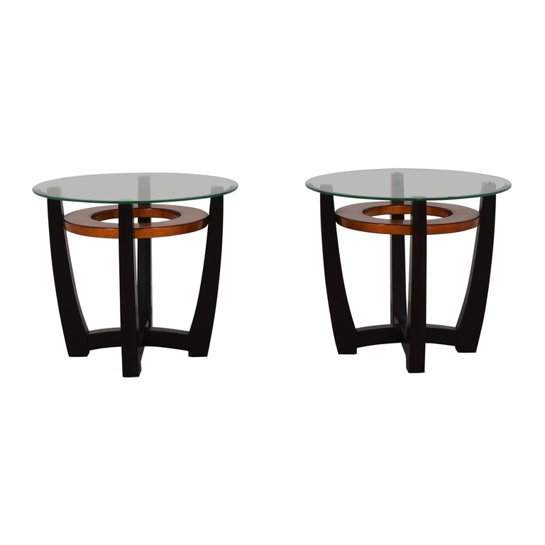 Round Glass and Bi-Colored Wood Coffee Table discount