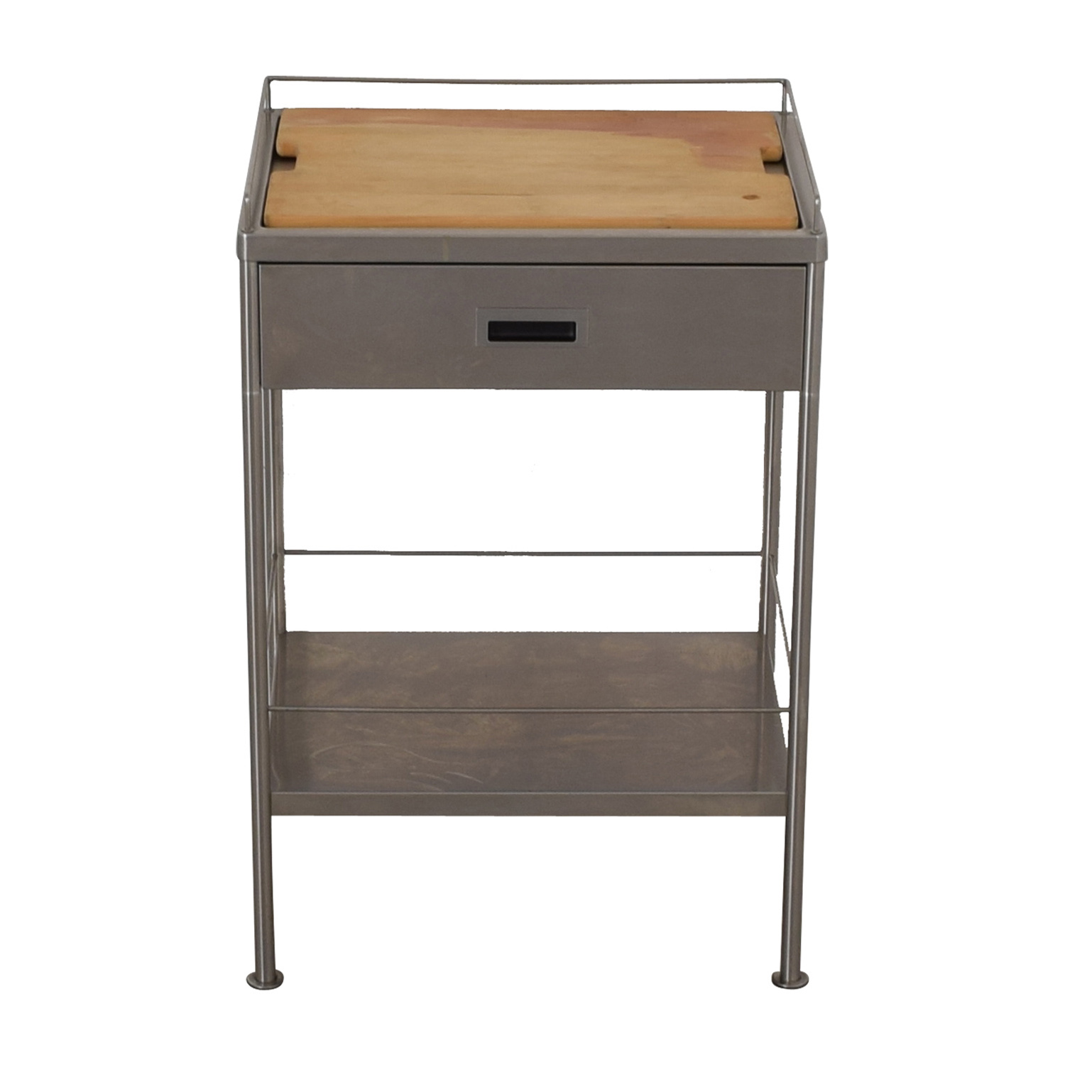 Metal Chef's Single Drawer Table Cart with Cutting Board