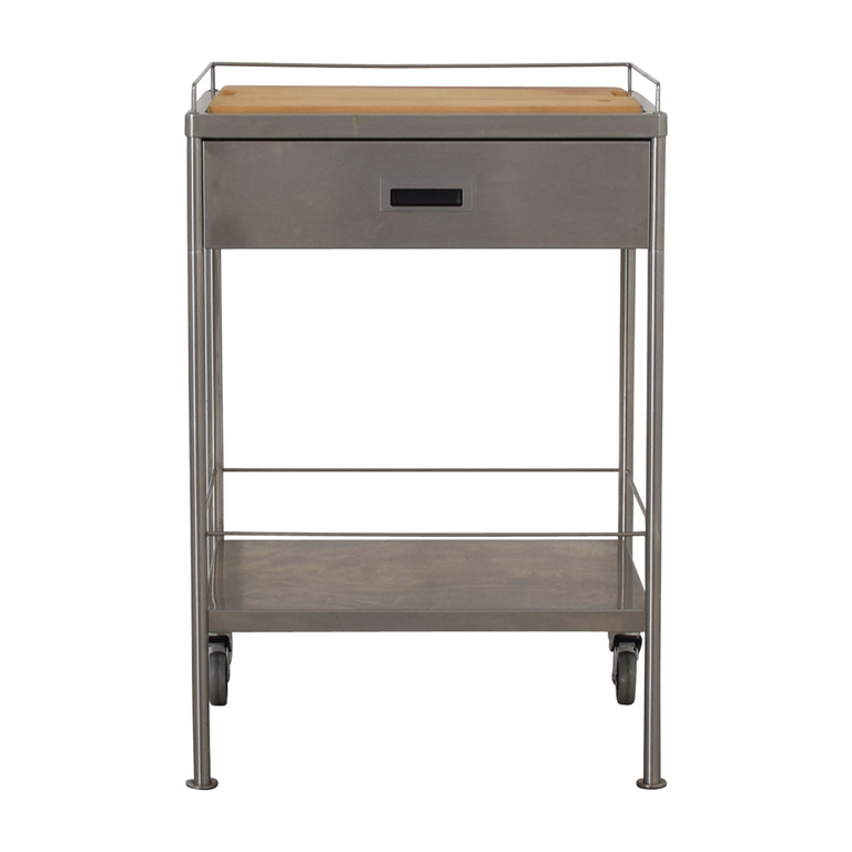 Metal Chef's Single Drawer Table Cart with Cutting Board for sale