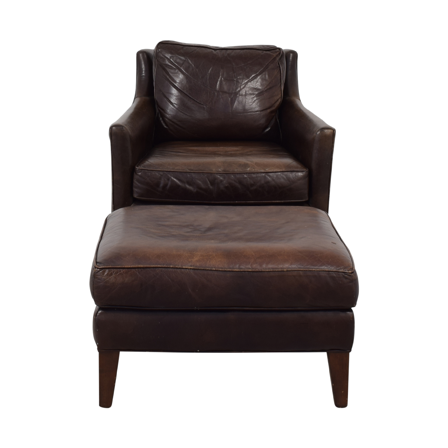 83 Off Brown Accent Chair With Ottoman Chairs