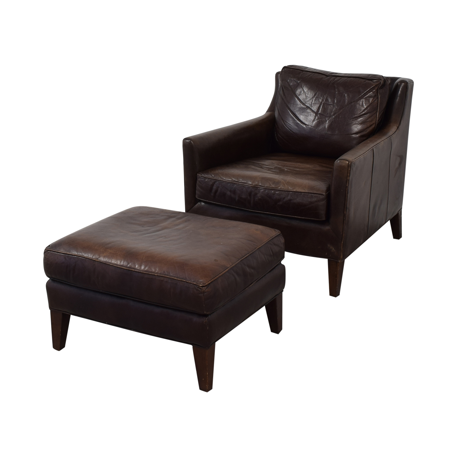Brown Accent Chair with Ottoman / Chairs